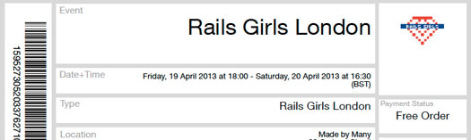 Rails Girls Ldn ticket